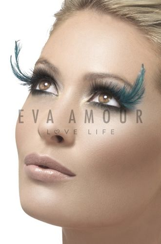 Teal Feather Plume Eyelashes
