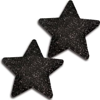 Glitter Black Glittery Star Pasties Set