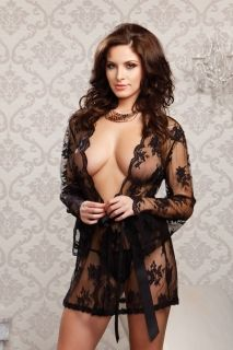 iCollection Black Sheer Lace Robe